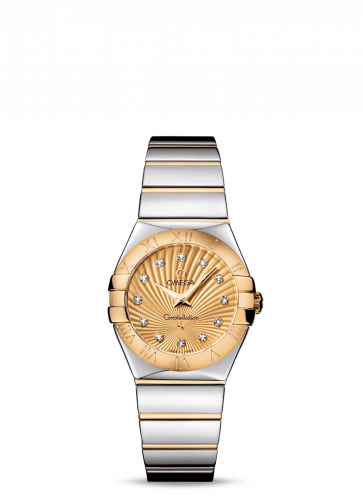 Omega 123.20.27.60.58.002 : Constellation Quartz 27 Polished Stainless Steel / Yellow Gold / Champagne Supernova