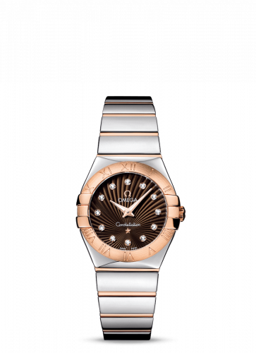 Omega 123.20.27.60.63.002 : Constellation Quartz 27 Polished Stainless Steel / Red Gold / Brown Supernova
