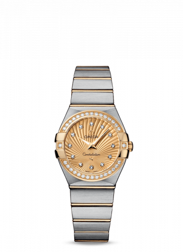 Omega 123.25.27.60.58.001 : Constellation Quartz 27 Brushed Stainless Steel / Yellow Gold / Diamond / Champagne Supernova