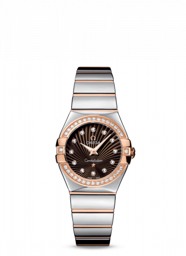 Omega 123.25.27.60.63.002 : Constellation Quartz 27 Polished Stainless Steel / Red Gold / Diamond / Brown Supernova