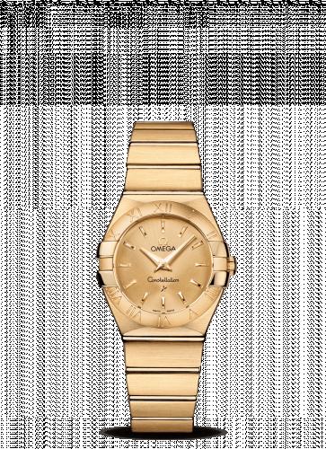 Omega 123.50.27.60.08.001 : Constellation Quartz 27 Brushed Yellow Gold / Champagne