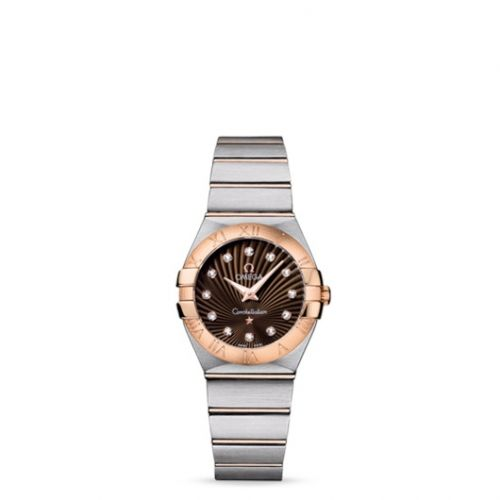 Omega 123.20.27.60.63.001 : Constellation Quartz 27 Brushed Stainless Steel / Red Gold / Brown Supernova