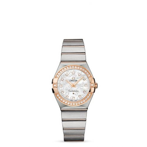 Omega 123.25.27.60.55.009 : Constellation Quartz 27 Brushed Stainless Steel / Red Gold / Diamond / MOP Omega