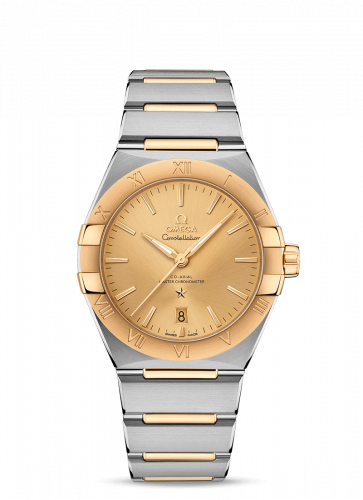 Omega 131.20.39.20.08.001 : Constellation Master Chronometer 39 Stainless Steel / Yellow Gold / Champagne / Bracelet