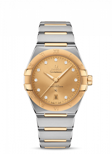 Omega 131.20.39.20.58.001 : Constellation Master Chronometer 39 Stainless Steel / Yellow Gold / Champagne-Diamond / Bracelet