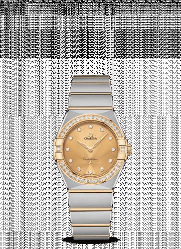 Omega 131.25.28.60.58.001 : Constellation Manhattan 28 Quartz Stainless Steel / Yellow Gold / Champagne-Diamond / Diamond