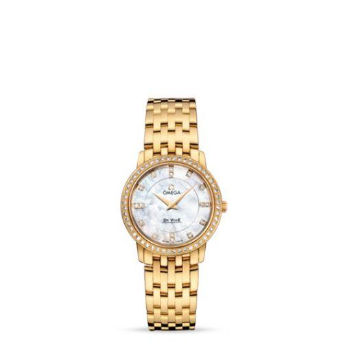 Omega 413.55.27.60.55.001 : De Ville Prestige Quartz 27 Yellow Gold Diamond / MOP Diamond / Bracelet