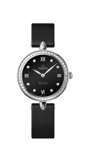 Omega 424.17.27.60.51.001 : De Ville Prestige Dewdrop Quartz 27.4 Stainless Steel / Black / Diamond