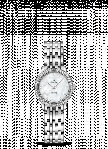 Omega 424.55.24.60.55.003 : De Ville  Prestige Quartz Ladies 24.5 White Gold Diamond / MOP / Bracelet