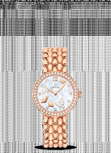 Omega 424.55.27.60.55.003 : De Ville Prestige Dewdrop Quartz 27.4 Red Gold / Diamond / Butterfly / Bracelet