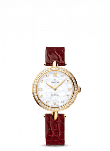 Omega 424.58.27.60.55.001 : De Ville Prestige Dewdrop Quartz 27.4 Yellow Gold / MOP / Diamond