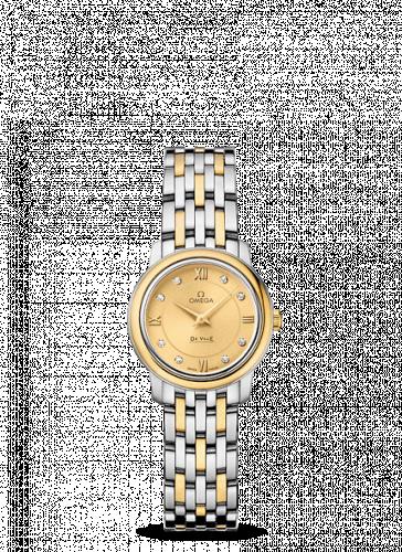 Omega 424.20.24.60.58.001 : De Ville  Prestige Quartz Ladies 24.5 Stainless Steel / Yellow Gold / Champagne  / Bracelet
