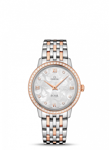 Omega 424.25.33.60.52.001 : De Ville Prestige Quartz 32.7 Butterfly Stainless Steel / Red Gold / Diamond / Bracelet