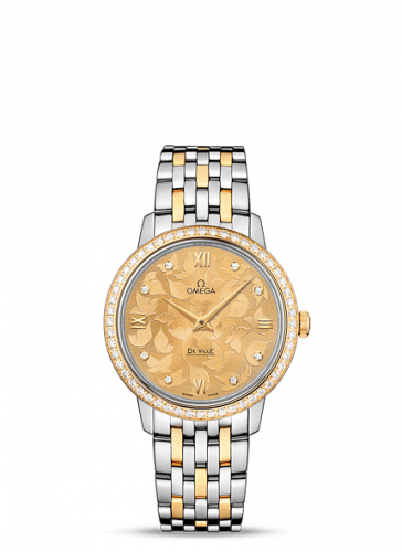 Omega 424.25.33.60.58.001 : De Ville Prestige Quartz 32.7 Butterfly Stainless Steel / Yellow Gold / Diamond / Bracelet