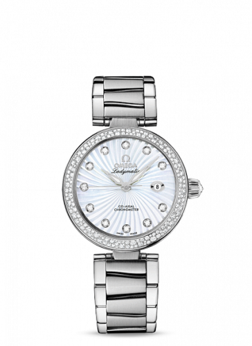 425.35.34.20.55.001 : Omega LadyMatic Co-Axial 34 Stainless Steel / Diamond / MOP / Bracelet