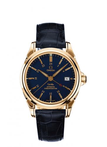 Omega 4633.80.33 : De Ville Co-Axial 38.7 GMT Yellow Gold / Blue