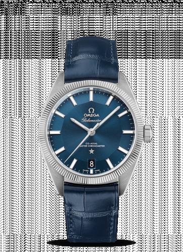130.33.39.21.03.001 : Omega Globemaster Stainless Steel / Blue / Leather