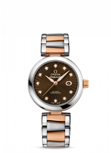 425.20.34.20.63.001 : Omega LadyMatic Co-Axial 34 Stainless Steel / Red Gold / Brown / Bracelet