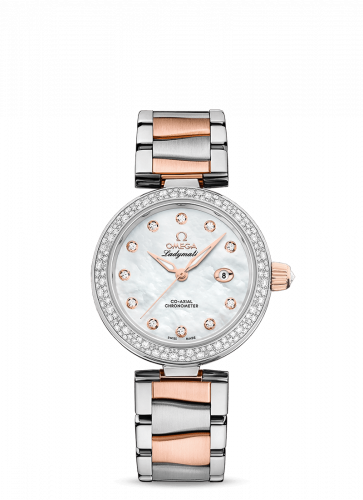Omega 425.25.34.20.55.004 : LadyMatic Co-Axial 34 Stainless Steel / Sedna Gold / Diamond / MOP / Bracelet
