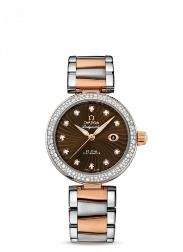 Omega 425.25.34.20.63.001 : LadyMatic Co-Axial 34 Stainless Steel / Red Gold / Diamond / Brown / Bracelet