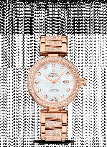425.65.34.20.55.005 : Omega LadyMatic Co-Axial 34 Red Gold / Diamond / MOP / Diamond Bracelet