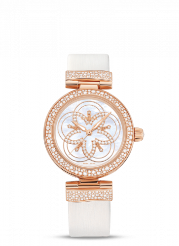 Omega 425.67.34.20.55.006 : LadyMatic Co-Axial 34 Red Gold Diamond / Diamond Flower