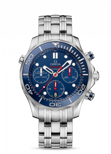 Omega 212.30.44.50.03.001 : Seamaster Diver 300M Co-Axial 44 Chronograph Stainless Steel / Blue / Bracelet