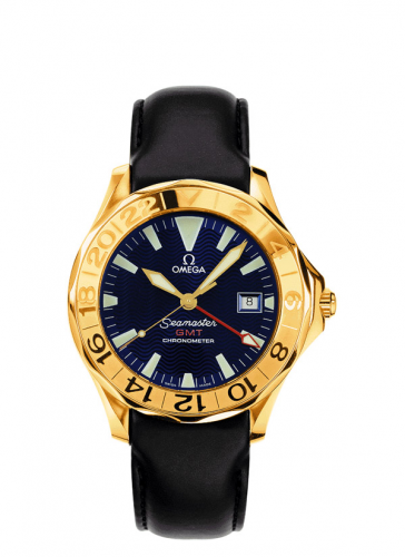 Omega 2634.80.93 : Seamaster Diver 300M Automatic 41 GMT Yellow Gold / Blue / Leather