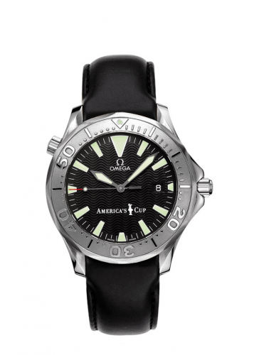 Omega 2833.50.91 : Seamaster Diver 300M Automatic 41 Stainless Steel / White Gold / Black / Leather / America's Cup