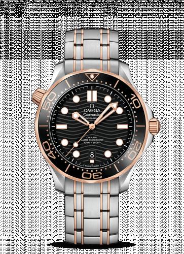 Omega 210.20.42.20.01.001 : Seamaster Diver 300M Master Co-Axial 42 Stainless Steel / Sedna Gold / Black / Bracelet