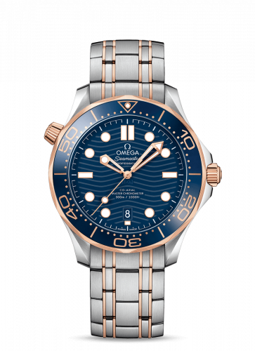 Omega 210.20.42.20.03.002 : Seamaster Diver 300M Master Co-Axial 42 Stainless Steel / Sedna Gold / Blue / Bracelet