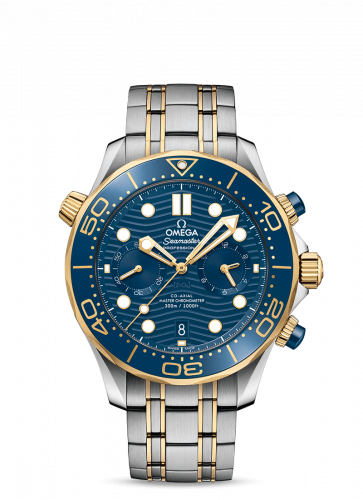Omega 210.20.44.51.03.001 : Seamaster Diver 300M Master Co-Axial 44 Chronograph Stainless Steel / Yellow Gold / Blue / Bracelet