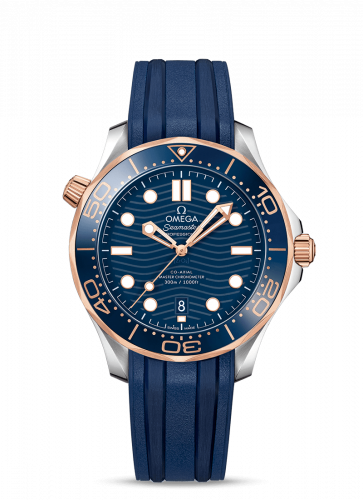 Omega 210.22.42.20.03.002 : Seamaster Diver 300M Master Co-Axial 42 Stainless Steel / Sedna Gold / Blue / Rubber