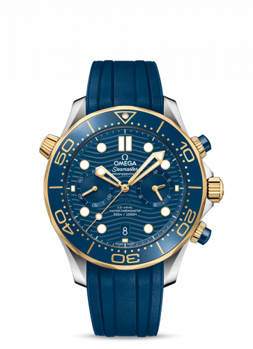 Omega 210.22.44.51.03.001 : Seamaster Diver 300M Master Co-Axial 44 Chronograph Stainless Steel / Yellow Gold / Blue / Rubber