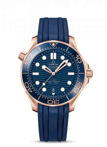 Omega 210.62.42.20.03.001 : Seamaster Diver 300M Master Co-Axial 42 Sedna Gold / Blue / Rubber