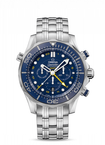 Omega 212.30.44.52.03.001 : Seamaster Diver 300M Co-Axial 44 GMT Chronograph Stainless Steel / Blue / Bracelet