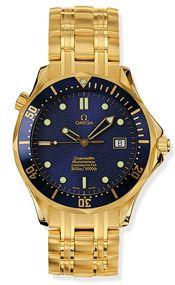 Omega 2133.80.00 : Seamaster Diver 300M Automatic 41 Yellow Gold / Blue / Bracelet / Bond