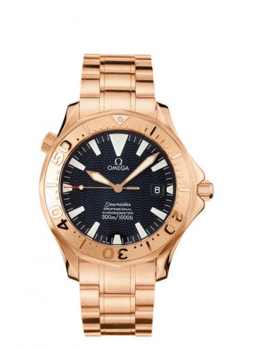 Omega 2136.50.00 : Seamaster Diver 300M Automatic 41 Red Gold / Black / Bracelet
