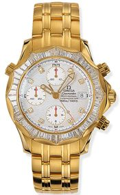 Omega 2195.25.00 : Seamaster Diver 300M Automatic 41.5 Chronograph Yellow Gold / Diamond / Silver / Bracelet