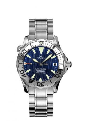 Omega 2253.80.00 : Seamaster Diver 300M Automatic 36.25 Stainless Steel / Electric Blue / Bracelet