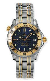 Omega 2362.80.00 : Seamaster Diver 300M Quartz 36.25 Stainless Steel / Yellow Gold / Blue / Bracelet