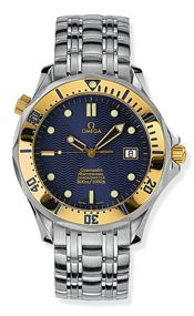 Omega 2432.80.00 : Seamaster Diver 300M Automatic 41 Stainless Steel / Yellow Gold / Blue / Bracelet