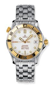 Omega 2452.20.00 : Seamaster Diver 300M Automatic 36.25 Stainless Steel / Yellow Gold / White / Bracelet