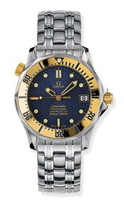 Omega 2452.80.00 : Seamaster Diver 300M Automatic 36.25 Stainless Steel / Yellow Gold / Blue / Bracelet