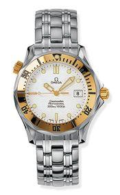 Omega 2462.20.00 : Seamaster Diver 300M Quartz 36.25 Stainless Steel / Yellow Gold / White / Bracelet