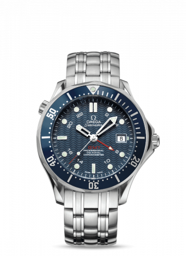 Omega 2539.80.00 : Seamaster Diver 300M Co-Axial 41 GMT Stainless Steel / Blue / Bracelet / SBS