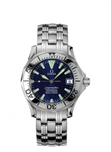 Omega 2554.80.00 : Seamaster Diver 300M Automatic 36.25 Stainless Steel / Electric Blue / Bracelet