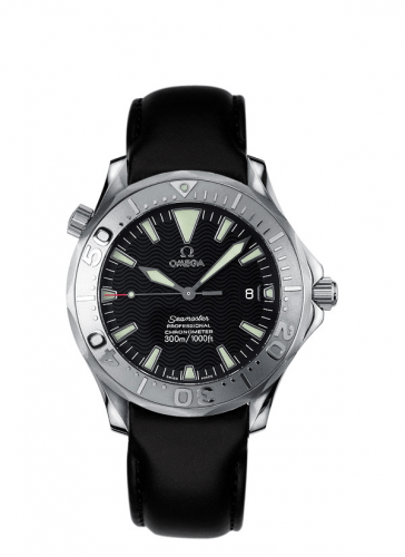 Omega 2830.50.91 : Seamaster Diver 300M Automatic 41 Stainless Steel / White Gold / Black / Leather