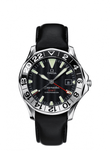 Omega 2834.50.96 : Seamaster Diver 300M Automatic 41 GMT Stainless Steel / Black / Leather