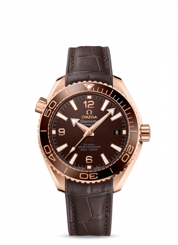 Omega 215.63.40.20.13.001 : Seamaster Planet Ocean 600M Co-Axial 39.5 Master Chronometer Sedna Gold / Chocolate / Alligator